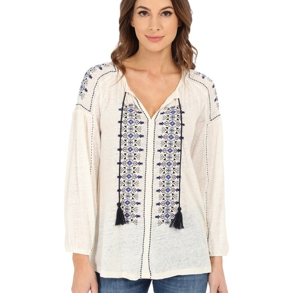 Lucky Brand Tops - Lucky Brand Embroidered Peasant Top